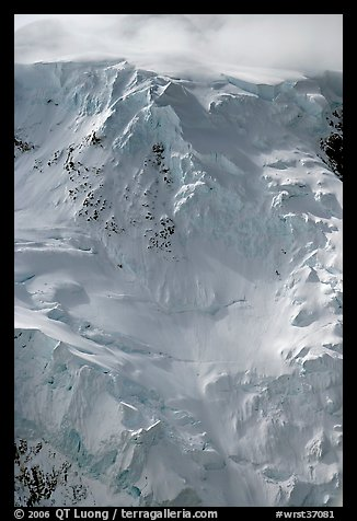 Aerial view of icy face with hanging glaciers and seracs. Wrangell-St Elias National Park (color)