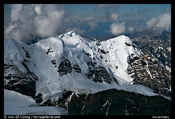 Aerial view of peak with seracs and hanging glaciers, University Range. Wrangell-St Elias National Park (color)