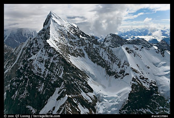 Aerial view of pointed icy peak, University Range. Wrangell-St Elias National Park (color)
