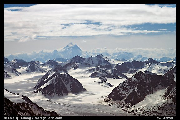Aerial view of Granite Range with Mt St Elias in background. Wrangell-St Elias National Park (color)