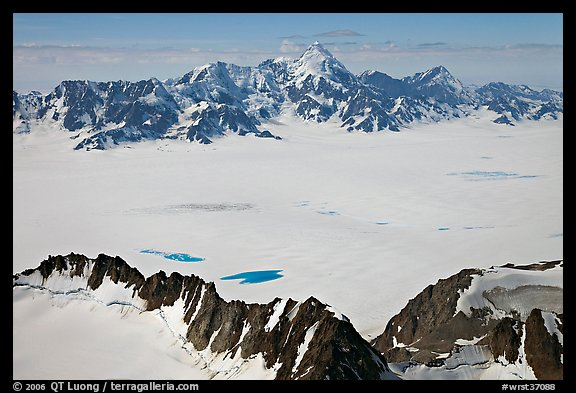 Aerial view of snow-covered Bagley Field. Wrangell-St Elias National Park (color)