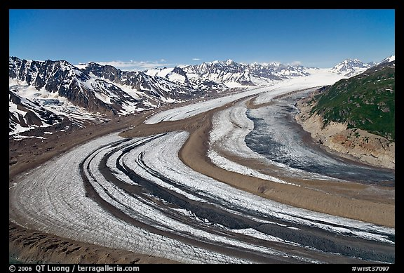 Aerial view of curving glacier near Bagley Field. Wrangell-St Elias National Park (color)