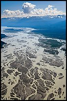 Aerial view of braids of the Chitina River. Wrangell-St Elias National Park, Alaska, USA. (color)