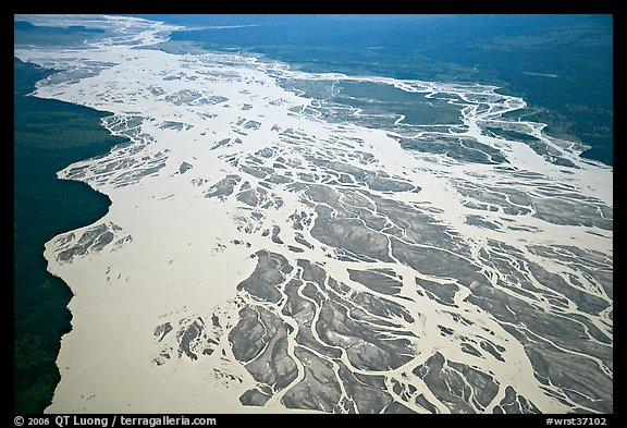 Aerial view of braided river plain. Wrangell-St Elias National Park (color)