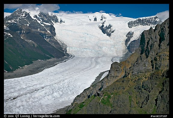 Aerial view of Erie Mine on ridge above Root Glacier. Wrangell-St Elias National Park, Alaska, USA.