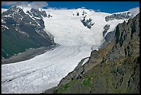 Aerial view of Erie Mine on ridge above Root Glacier. Wrangell-St Elias National Park, Alaska, USA. (color)