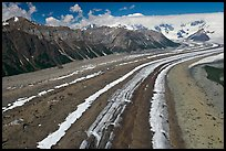 Aerial view of Kennicott Glacier. Wrangell-St Elias National Park, Alaska, USA. (color)