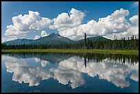 Clouds, mountains, and reflections. Wrangell-St Elias National Park, Alaska, USA. (color)