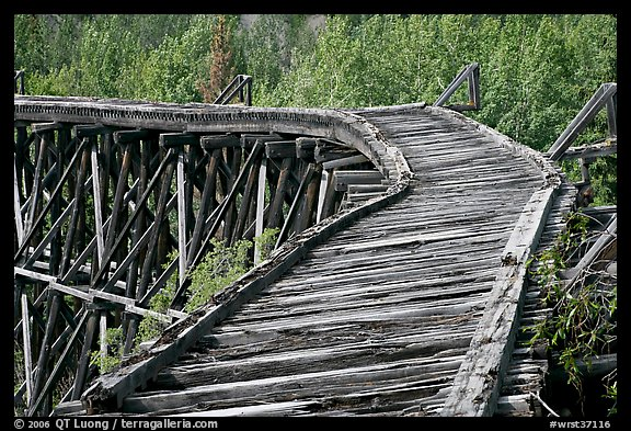 Broken section of Gilahina trestle. Wrangell-St Elias National Park (color)