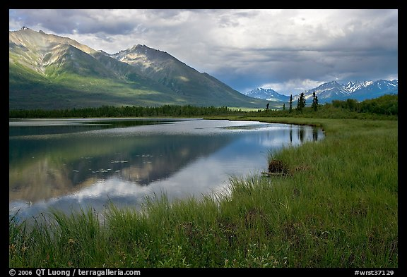 Mountains reflected in lake. Wrangell-St Elias National Park (color)