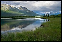 Mountains reflected in lake. Wrangell-St Elias National Park, Alaska, USA. (color)
