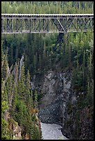 Kuskulana gorge, river, and bridge. Wrangell-St Elias National Park, Alaska, USA.