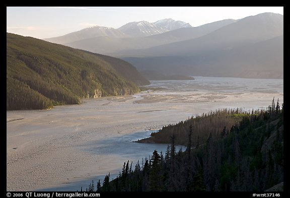 Chitina River and Chugach Mountains, late afternoon. Wrangell-St Elias National Park (color)