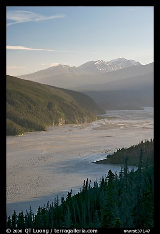 Wide Chitina River and Chugach Mountains. Wrangell-St Elias National Park (color)