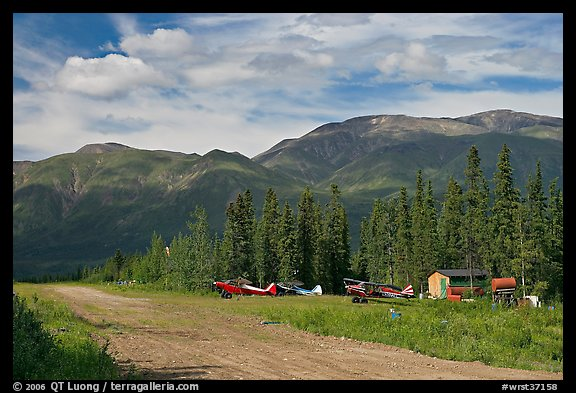 Airstrip and bush planes. Wrangell-St Elias National Park, Alaska, USA.