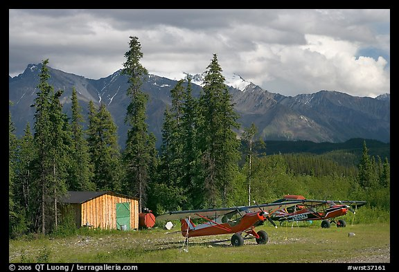 Bush planes at the end of Nabesna Road. Wrangell-St Elias National Park (color)
