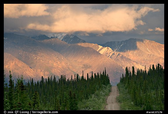 Road and Nutzotin Mountains at sunset. Wrangell-St Elias National Park (color)