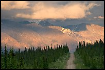 Road and Nutzotin Mountains at sunset. Wrangell-St Elias National Park, Alaska, USA.