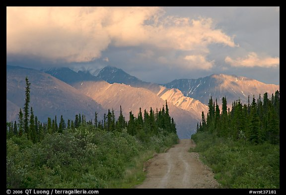 Gravel road leading to mountains lit by sunset light. Wrangell-St Elias National Park (color)