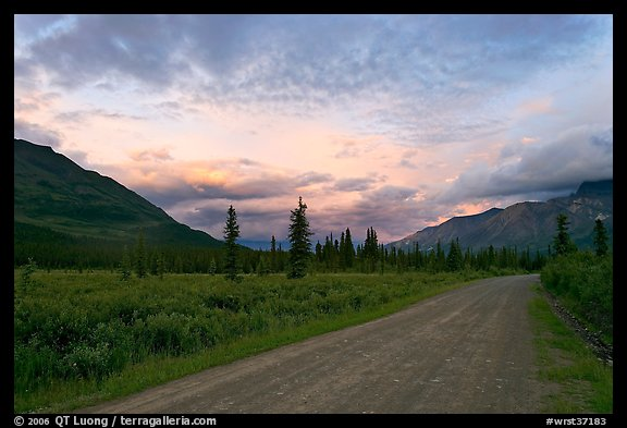 Nabena road at sunset. Wrangell-St Elias National Park (color)