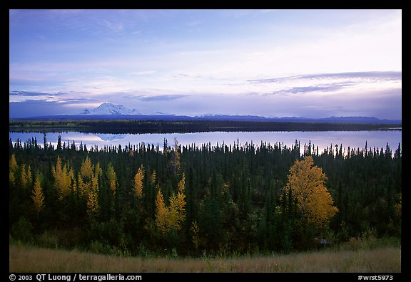 Mt Wrangell and Willow Lake, morning. Wrangell-St Elias National Park (color)