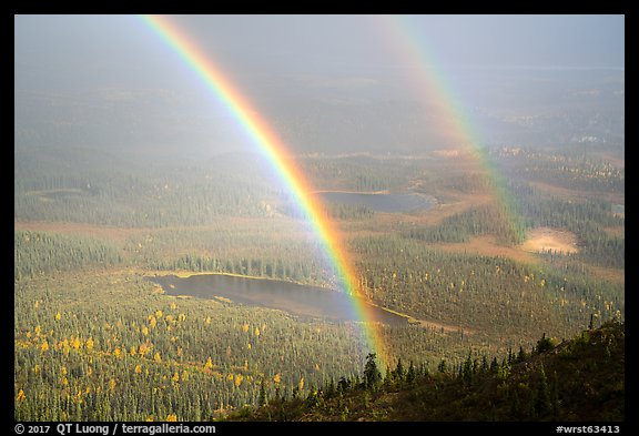 Double rainbow over lakes and tundra. Wrangell-St Elias National Park (color)