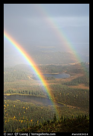 Double rainbow over valley with lakes. Wrangell-St Elias National Park (color)