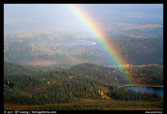Rainbow and lakes from above. Wrangell-St Elias National Park (color)
