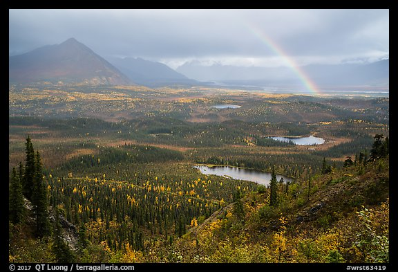 Devils Mountain, Nabesna River Valley, distant rainbow. Wrangell-St Elias National Park (color)