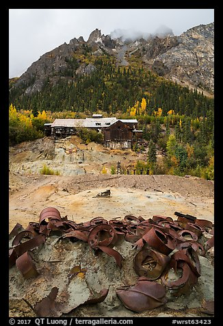 Rusted barels and mill. Wrangell-St Elias National Park (color)