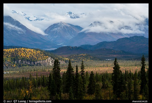 Snowy mountains above Nabesna River Valley. Wrangell-St Elias National Park (color)