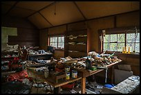 Interior of abandonned cabin full of artifacts. Wrangell-St Elias National Park ( color)