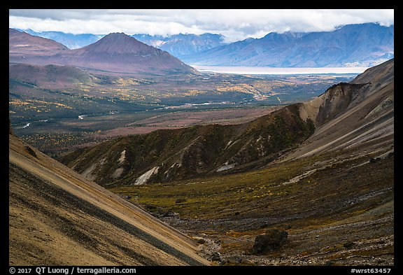 Nabesna River Valley from Skookum Volcano. Wrangell-St Elias National Park (color)