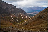 Visitor looking, Skookum Volcano. Wrangell-St Elias National Park ( color)