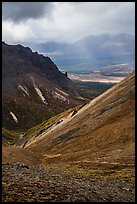 Tundra and volcanic spires, Skookum Volcano. Wrangell-St Elias National Park ( color)
