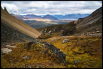View over valley from Skookum Volcano. Wrangell-St Elias National Park ( color)
