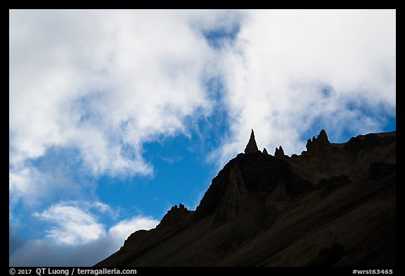 Sharp spires and clouds, Skookum Volcano. Wrangell-St Elias National Park (color)
