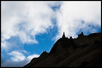 Sharp spires and clouds, Skookum Volcano. Wrangell-St Elias National Park ( color)
