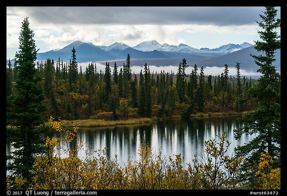 Rock Lake and Wrangell range in autumn. Wrangell-St Elias National Park (color)