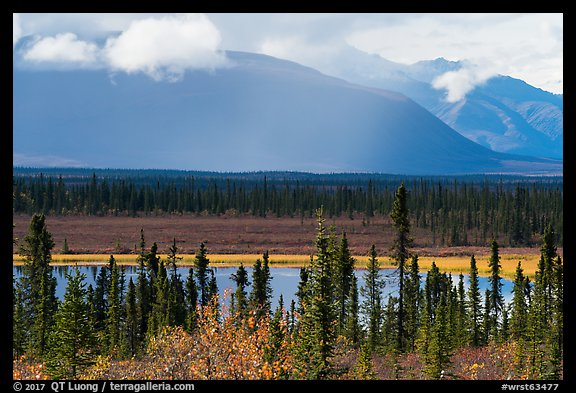 Wrangell Mountains from Nabesna Road in autumn. Wrangell-St Elias National Park, Alaska, USA.