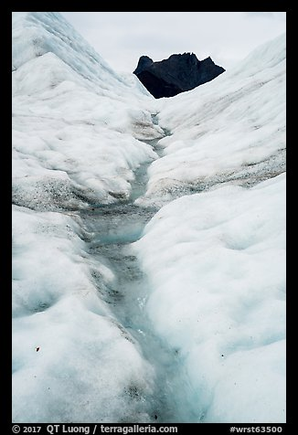 Glacial stream on Root Glacier and peak. Wrangell-St Elias National Park (color)