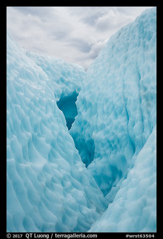 Walls of ice in narrow canyon, Root Glacier. Wrangell-St Elias National Park (color)