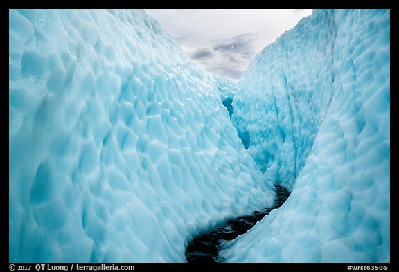 Glacial stream in narrow ice canyon, Root Glacier. Wrangell-St Elias National Park (color)