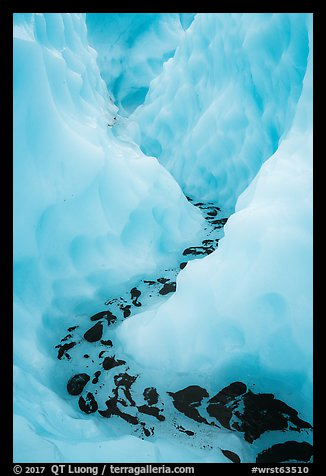 Meltwater at the bottom of icy canyon, Root Glacier. Wrangell-St Elias National Park (color)