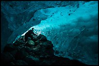 Mountaineer in ice cave. Wrangell-St Elias National Park ( color)