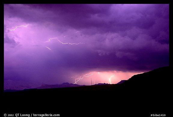 Lightning thunderstorm. Big Bend National Park (color)