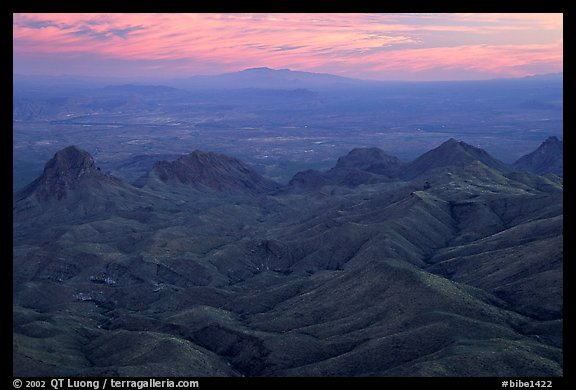 View from South Rim over bare mountains, sunset. Big Bend National Park (color)