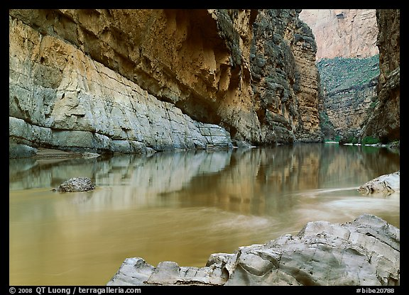Rio Grande and cliffs in Santa Elena Canyon. Big Bend National Park (color)