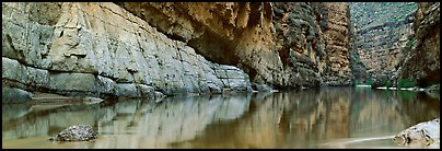 Canyon walls reflected in Rio Grande River. Big Bend National Park (Panoramic color)