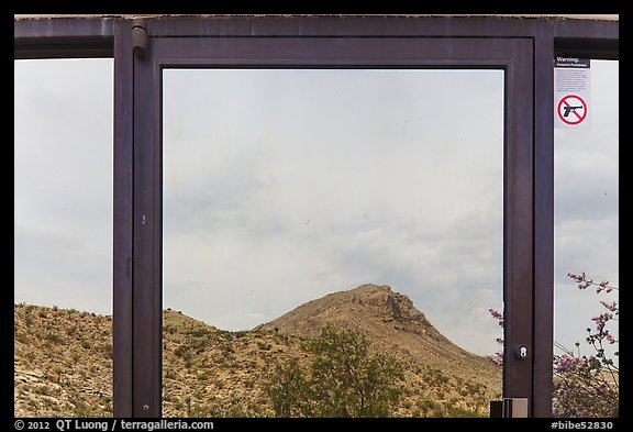 Santiago mountains, Persimmon Gap Visitor Center window reflexion. Big Bend National Park (color)
